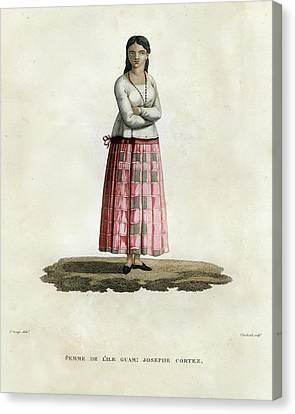 Femme De L Ile Guam Josephe Cortez Canvas Print by Jacques Arago