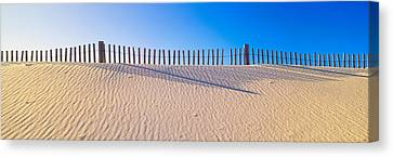 Fence Along Beach At Santa Rosa Island Canvas Print by Panoramic Images