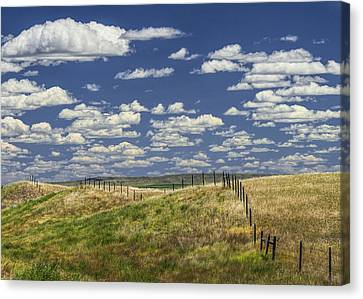 Fence Along The Rolling Hills By The Roadway Canvas Print by Randall Nyhof