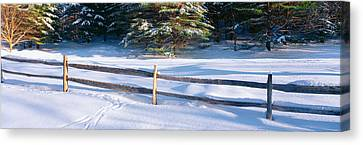 Fence And Snow In Winter, Vermont Canvas Print by Panoramic Images
