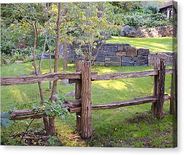 Split Rail Fence Canvas Print - Fence And Wall by Karen Silvestri