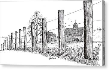 Canvas Print featuring the drawing Fence Line 1 by Jack G  Brauer