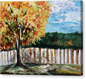 Canvas Print featuring the painting Fence Under The Maple by Mary Carol Williams