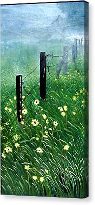 Fence With A Ghost House Canvas Print by Robert Thomaston