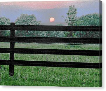 Fenced Sunset 2 Canvas Print by Brian Foxx