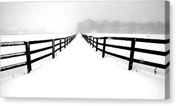 Fenced White Out Canvas Print by Russell Styles