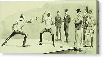 Fencing At Dickel's Academy Canvas Print