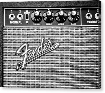 Fender Amplifier Monochrome Canvas Print by Andrea Mazzocchetti