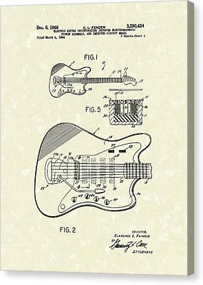 Fender Guitar 1966 Patent Art Canvas Print