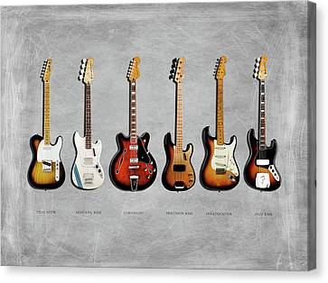 Jazz Canvas Print - Fender Guitar Collection by Mark Rogan
