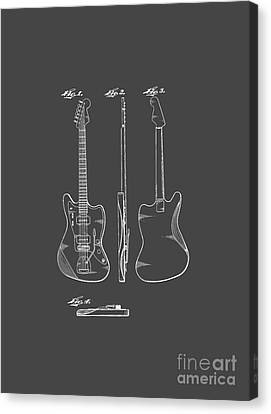 Fender Guitar Drawing Tee Canvas Print by Edward Fielding