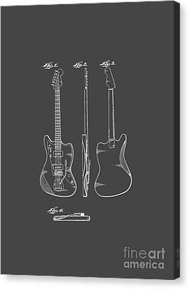 Shirt Canvas Print - Fender Guitar Drawing Tee by Edward Fielding