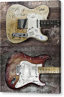 Fender Guitars Fantasy Canvas Print by Mal Bray