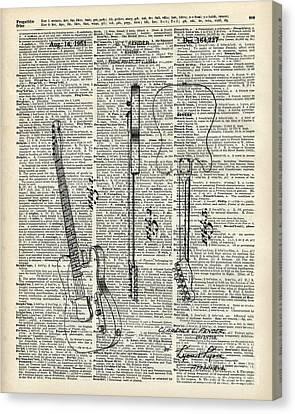 Black Top Canvas Print - Fender Telecaster Guitar Over Dictionary Page by Fundacja Rozwoju Przedsiebiorczosci