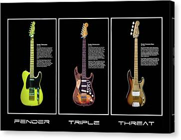 Canvas Print featuring the photograph Fender Triple Threat by Peter Chilelli