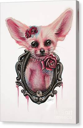 Canvas Print featuring the drawing Fennec Fox by Sheena Pike
