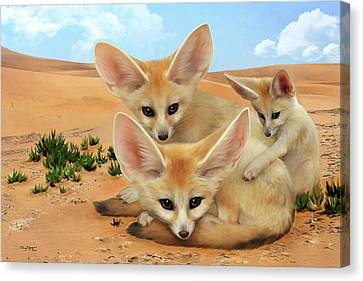 Canvas Print featuring the digital art Fennec Foxes by Thanh Thuy Nguyen