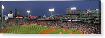 Fenway Park And Boston Skyline Canvas Print by Juergen Roth
