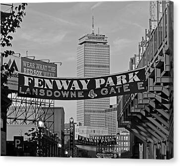 Fenway Park Banners Boston Ma Black And Whtie Canvas Print by Toby McGuire