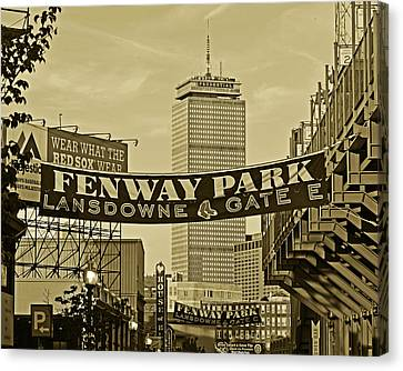 Fenway Park Banners Boston Ma Sepia Canvas Print by Toby McGuire