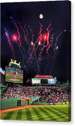 Fenway Park Fireworks - Boston Canvas Print by Joann Vitali