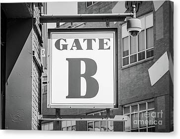 Ballpark Canvas Print - Fenway Park Gate B Sign Black And White Photo by Paul Velgos