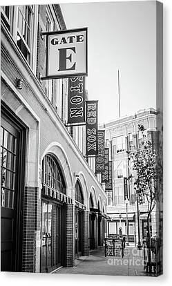 Entrances Canvas Print - Fenway Park Gate E Entrance Black And White Photo by Paul Velgos