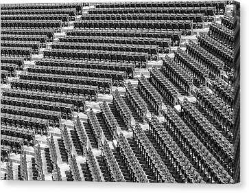 Fenway Park Green Bleachers Bw Canvas Print by Susan Candelario