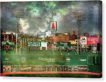 Canvas Print featuring the photograph Fenway Park Green Monster And Citgo Sign by Joann Vitali