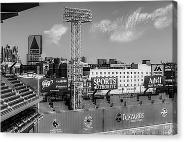 Fenway Park Green Monster Wall Bw Canvas Print by Susan Candelario