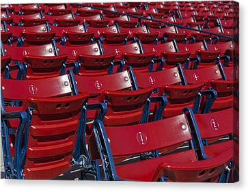 Fenway Park Red Bleachers Canvas Print by Susan Candelario