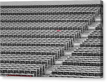 Fenway Park Red Chair Number 21 Bw Canvas Print by Susan Candelario