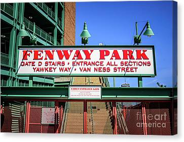 Ballpark Canvas Print - Fenway Park Sign Gate D Entrance Photo by Paul Velgos