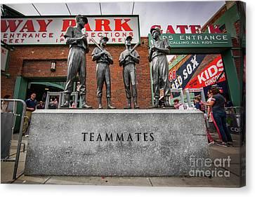 Fenway Park Teammates Statue Canvas Print by Kellan Reck