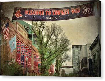 Canvas Print featuring the photograph Fenway Park Yawkey Way Sign by Joann Vitali