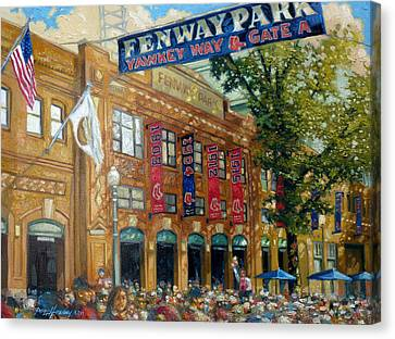 Red Skies Canvas Print - Fenway Summer by Gregg Hinlicky