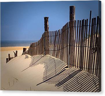 Fenwick Dune Fence And Shadows Canvas Print