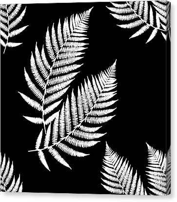 Canvas Print featuring the mixed media Fern Pattern Black And White by Christina Rollo