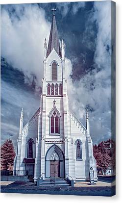 Canvas Print featuring the photograph Ferndale Church In Infrared by Greg Nyquist