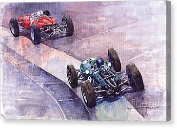 1964 Ferrari 158 Vs Brabham Climax German Gp 1964 Canvas Print by Yuriy  Shevchuk