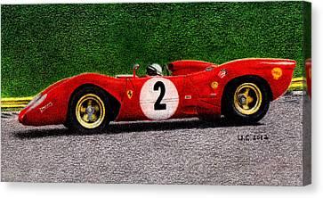 Ferrari 312p Pedro Rodriguez 1969 Canvas Print by Ugo Capeto