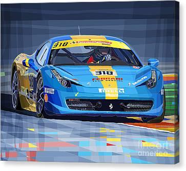 Ferrari 458 Challenge Team Ukraine 2012 Variant Canvas Print by Yuriy Shevchuk