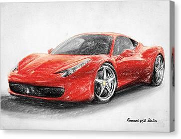 Ferrari 458 Italia Canvas Print by Taylan Apukovska