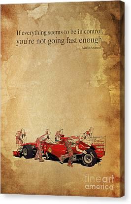 Ferrari A Boxes - Andretti Quote Canvas Print by Pablo Franchi
