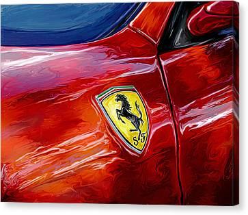 Ferrari Badge Canvas Print by David Kyte