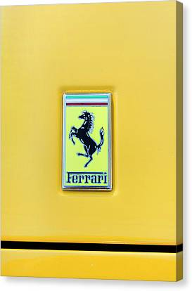 Canvas Print featuring the photograph Ferrari Badge by Theresa Tahara