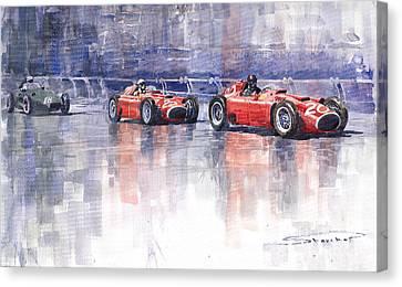 Ferrari D50 Monaco Gp 1956 Canvas Print by Yuriy  Shevchuk