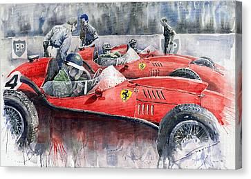 Red Ferrari Canvas Print - Ferrari Dino 246 F1 1958 Mike Hawthorn French Gp  by Yuriy  Shevchuk