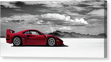 Salt Flats Canvas Print - Ferrari F40 by Douglas Pittman