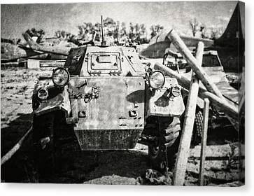 Ferret Armored Car In Black And White Canvas Print